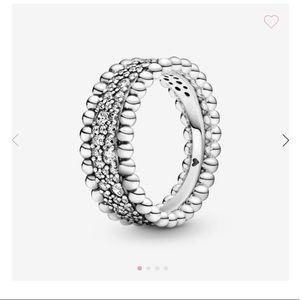 Pandora Beaded Pavé Band Ring